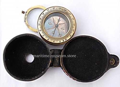 Brass Compass With Magnifying Glass - Brass Compass C-3019