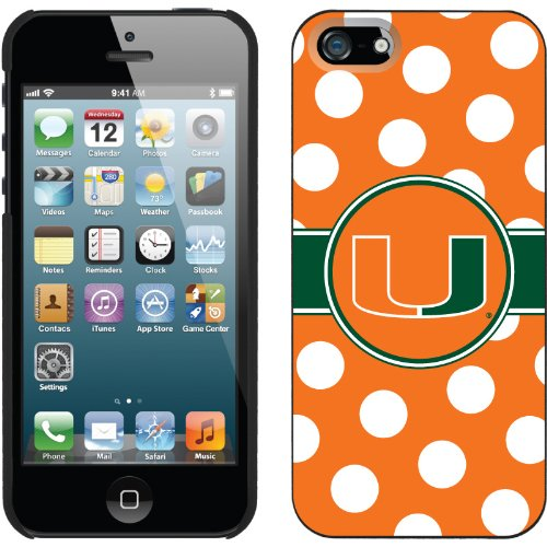 Great Price University of Miami Polka Dots design on a Black iPhone 5s / 5 Thinshield Snap-On Case by Coveroo