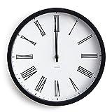 時計 電波時計 秒針の音がしない 静か スイープ式秒針 壁掛け 壁掛け時計 直径30.5cm オリジナルデザイン モノトーン ブラック