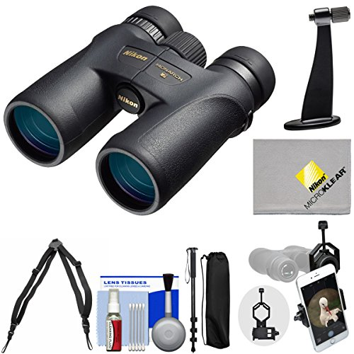 Nikon Monarch 7 8x42 ED ATB Waterproof / Fogproof Binoculars with Case + Harness + Smartphone and Tripod Adapters + Monopod + Cleaning Kit (Nikon Harness compare prices)