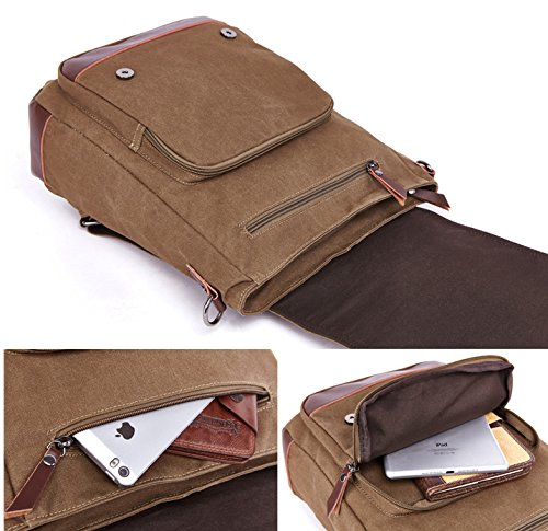 Kenox Vintage High School Canvas Backpack School Bag Travel Bag Laptop Bag 4