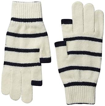 Etre Touchy Texting Gloves (L, Ecru/Oxford Blue Stripe)