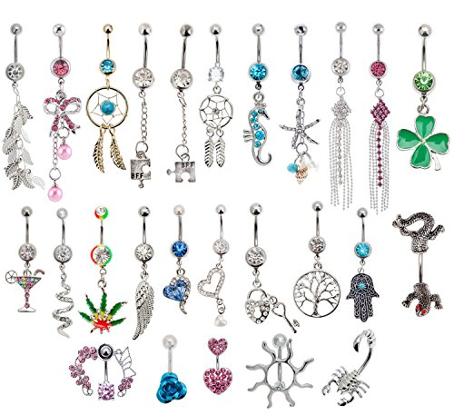 Jewelry Set of 25pcs 14 Gauge 316L Surgical Steel Belly Rings Navel Belly Button Piercings Bananabells Curved Barbells With Different Pendants Decorations and Crystals Rhinestones (Belly Button Ring And Needle compare prices)