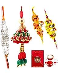 Ethnic Rakhi Designer Floral Pattern Multi-Color Fashionable And Stylish Mauli Thread And Beads Rakhi Set Of 4... - B01IIMDCKG