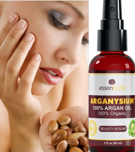 Arganysium Tm - Certified 100% ARGAN OIL Organic - For Natural Skin Care - Itchy Skin Relief - Premium Quality Virgin Argan Oil - Hydration for Face and Hair - Softens & Moisturizes Dry Skin - Also Great for Eczema & Acne Prone Skin