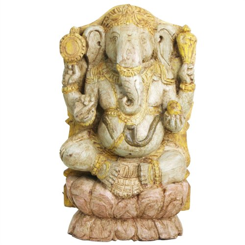 Antique Finish South Indian Hand Carved Wood Ganesh Statue
