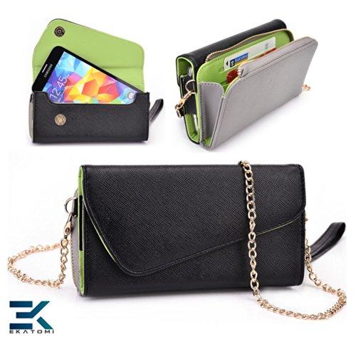 Universal Women'S Wallet Phone Case Clutch - Black, Grey & Green. Bonus Ekatomi Screen Cleaner