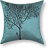 """Euphoria CaliTime Cushion Covers Pillows Shell Teal Ground Brown Tree Embroidery 18"""" X 18"""""""
