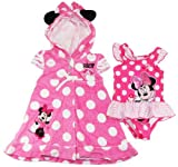 Disney Girls Cute Minnie Mouse 1Pc Swimsuit & Hooded Cover-up Set