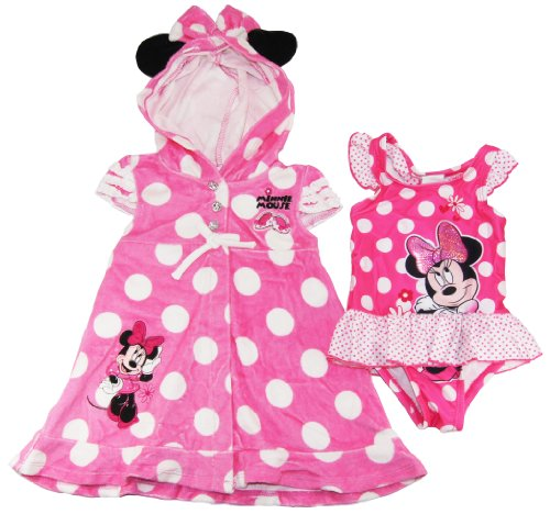 Disney Girls Cute Minnie Mouse 1Pc Swimsuit & Hooded Cover-Up Set, 6 Pink front-101867