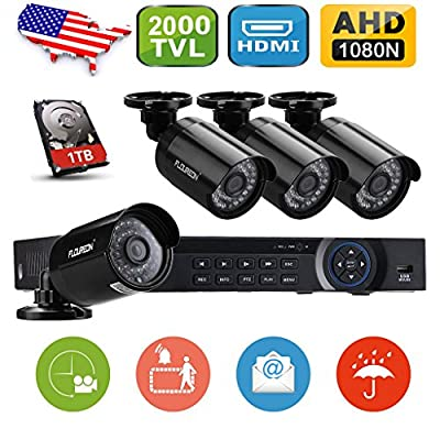 Floureon 8CH 1080N AHD 720P DVR Video Surveillance System + 1TB HDD+ 4 Pcs Waterproof Outdoor HD 2000TVL 960P 1.3MP Bullet Cameras Home Security Kit