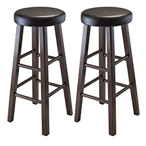 assembled round bar stool with pu leather cushion seat and square