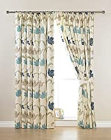 "CORK FLORAL CREAM BLUE 46"" x 54"" LINED PENCIL PLEAT CURTAINS #ELASNIK from PCJ Supplies"