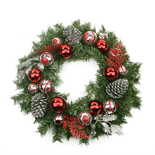 "24"" Pre-Decorated Red & Silver Holly, Ball, Cedar & Pine Cone Artificial Christmas Wreath - Unlit"