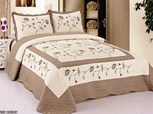 Find Discount 3pc Beige / Taupe Very Soft Fully Quilted Embroidery Bedspread Bed Coverlets Cover Set...