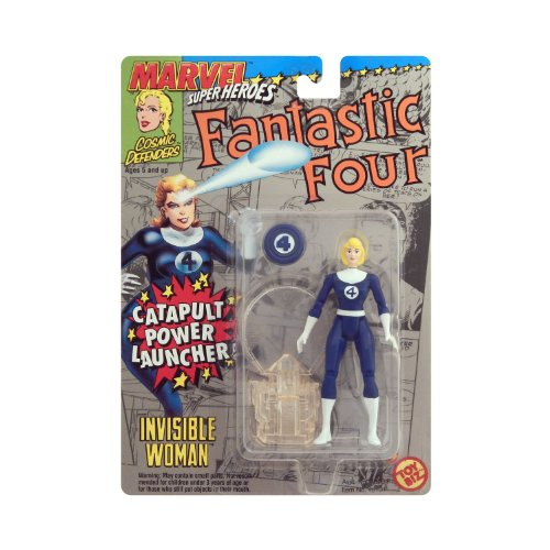 1994 - Toy Biz / Marvel Super Heroes / Cosmic Defenders - Fantastic Four - Invisible Woman (Sue Richards) Action Figure - w/ Catapult Power Launcher - 4.5 Inches - Collector Perfect - Out of Production - New - Mint - Collectible - 1