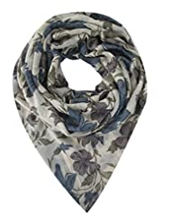 Elabore Women's Floral Printed Stole - Blue & Green & Grey