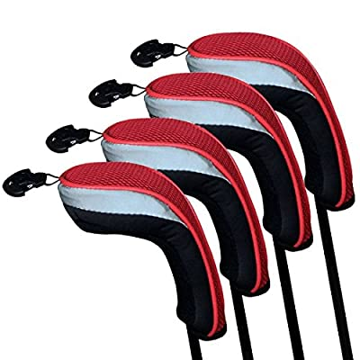 Andux Golf Hybrid Club Head Covers Set of 4 Interchangeable No. Tag