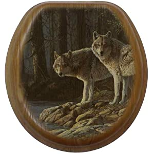 Comfort Seats C1B2R1-774-17AB Shades Of Gray Wolves Round Oak Toilet Seat, Antique Brass