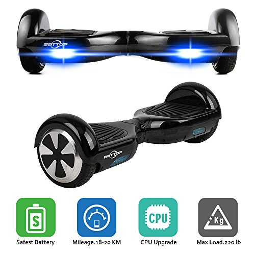 BATTOP Self Balance Scooter Two Wheel Electric Smart Skateboard Safe Sports Transporter With LED Light (Black)