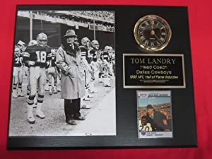 Tom Landry Dallas Cowboys Collectors Clock Plaque w 8x10 RARE WINTER Photo and Card by J & C Baseball Clubhouse