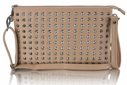 Ladies Nude Studded Designer Oversized Clutch Purse with Wristlet KCMODE