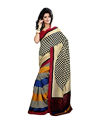 Anu Designer Self Print Saree (6408A_Multi-Coloured)