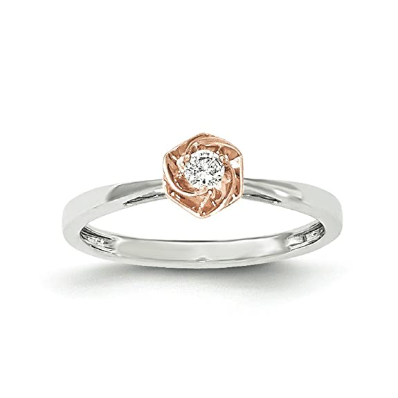 14ct White Gold and Rose Gold Diamond Ring