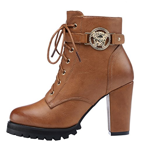 Guciheaven Women Winter Simple Style Rough Heels Martin Short Boots(5.5 B(M)Us, Tan)