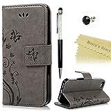 Maviss Diary iPhone 5 5s/SE Solide Grau Drucken(Schmetterling Weinstock)PU Leder Tasche Hülle Schutzhülle Case Magnetver