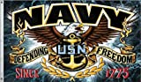 New 3X5 U.S. Navy Defending Freedom Fighter Quality Usn Flag