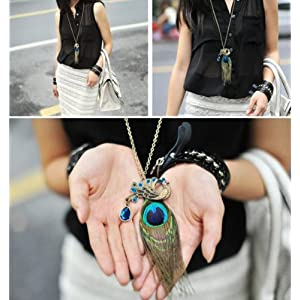 Bronze Peacock Feather Retro Necklace Only $1.59 SHIPPED!