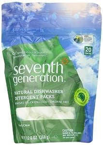 Seventh Generation 22818 ENG naturelles vaisselle Les Pacs D-tergent - 20 count - pack de 12