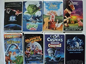 Kids And Children 8 Pack Vhs Movies Et - The Extra-terrestrial 1982 Henry Thomas Actor Drew Barrymore Actor Steven Spielberg The Grinch Stole Christmas Jim Carrey Babe Pig In The City Babe Land Before Time The Big Freeze Muppets From Space Caspers Haunted