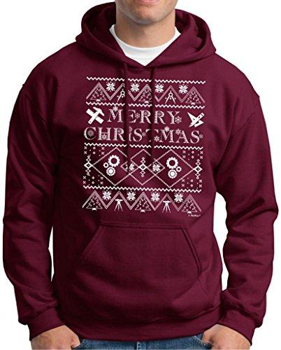Ugly Christmas Sweater For Engineers Premium Hoodie Sweatshirt Medium Maroon