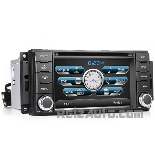 Chrysler Dodge Jeep Ram In-Dash Navigation Stereo Gps Dvd Cd Mp3 Avi Usb Sd Radio Bluetooth Hands-Free Steering Wheel Controls Touch Screen Ipod Iphone-Ready Av Receiver Video Audio Player Deck Multimedia Infotainment System W/ Digital Tv Rear View Camera