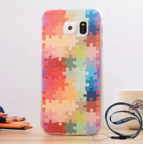 Fashion and Cute Colorful 3D Pattern Case for Samsung Galaxy S6 Edge Personality Cool Cartoon Back Cover + Big Mango Logo Strap (Cell)