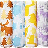 """""""Animalitos de Colores"""" CuddleBug Muselinas Pack de 4   Mantas de Muselina de Algodón   Paños de Muselina para Bebés Calidad   Garantía de por Vida   Mantas Envolventes"""