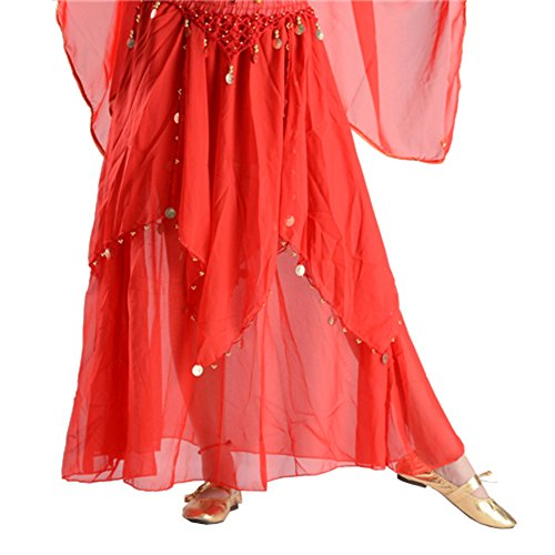 STIME TM Women One Size Dance Suit, Belly Dance Coin Costumes Long Skirt