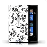 KOBALT® Protective Hard Back Case / Cover for Nokia Lumia 800 Black/White Design Ladybug Pattern Collection