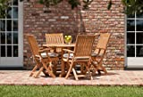 Barbuda 5pc Teak Patio Table and Folding Chairs