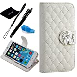 iPhone 6 Plus case, Camellia Diamond Crystal Diamond Designed with PU Leather Lady Style For Apple iPhone 6 Series (iPhone 6Plus(5.5-Inch), White)