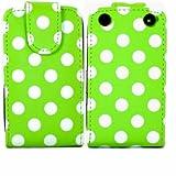 Polka Flip Case Cover Shell For Blackberry Curve 9220 9320 / White Polka Dots Spots Green