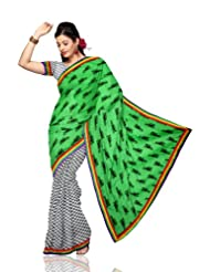 Unnati Silks Women Chanderi Sico Printed Green'White Saree