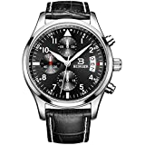 BINGER Mens Fashion Casual Quartz Military Wrist Watch with Colour Black Leather Strap