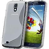 KGC DOO Custodia + Pellicola TPU WAVE CLEAR per Samsung I9500 Galaxy S4 - Custodia COVER CASE CLEAR TRASPARENTE per Samsung I 9500 Galaxy S 4 + Pellicola Protettiva Schermo