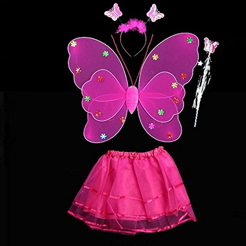 4 Pcs Wings Wand Set for Girls Dress up Birthday Gifts Party Favor Costume Toys