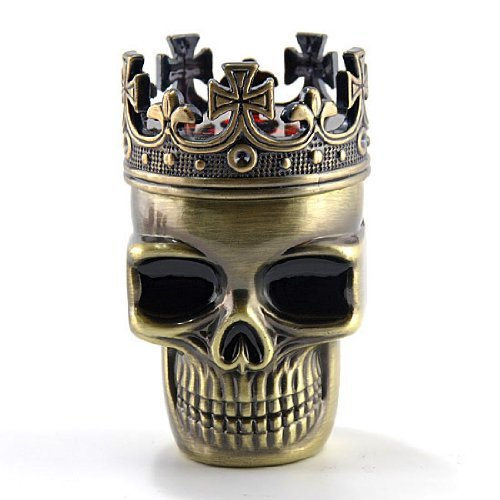 Newest Fab Detailed Crowned King Skeleton Skull Design Novelty Metal 3 Stages Spice Grinder Pollen Screen Great Gift