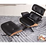 ArtisDecor Plywood Lounge Chair and Ottoman - Genuine Leather (Black Leather & Ashwood)