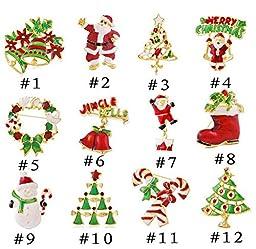 Fusicase New Creative 12pcs/lot Christmas Tree Senta Claus Bell Brooch Tree Snowman Party Favor Rhinestone(#1)